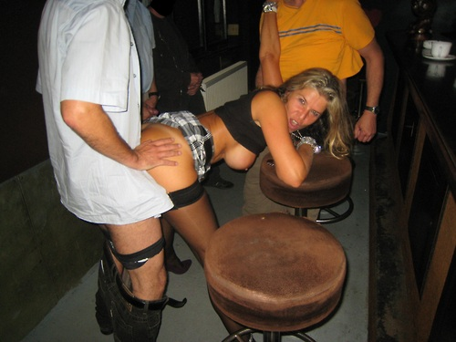 Slut wife fucked in public bar