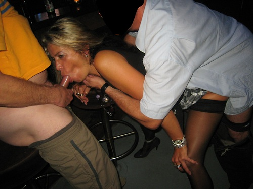 Gangbang slut wife in public bar