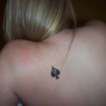 """A temporary Queen of Spades tattoo. This is about one month…"