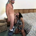 Ebony MILF jumps on a weenie after engulfing it hungrily