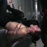 Lying on the dark leather bed bound up brunette hair sucks master's tool