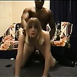 Blonde haired excited chick was drilled by strong black ally of mine
