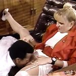 Nasty and sultry blondie on the sofa spreads her legs for dark man