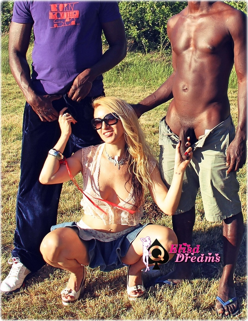 My whore having fun with TWO Blacks guys