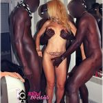 White doxy felt up by 3 black men
