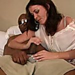 Outstanding interracial sex with sexually excited brunette cougar and black chap
