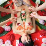 Cosplayer Luchino Fujisaki poses for nyotaimori body sushi fetish photos with delicious results